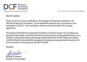 Delaware Community Foundation Donation